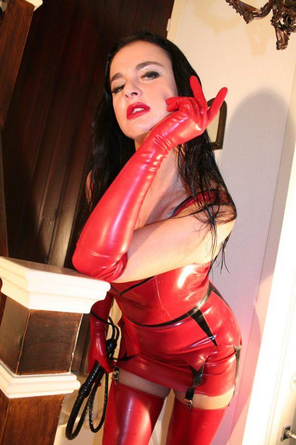 dominatrix dinah red latex